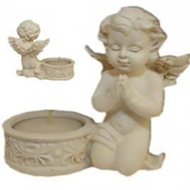 stenen theelichthouder met biddende engel