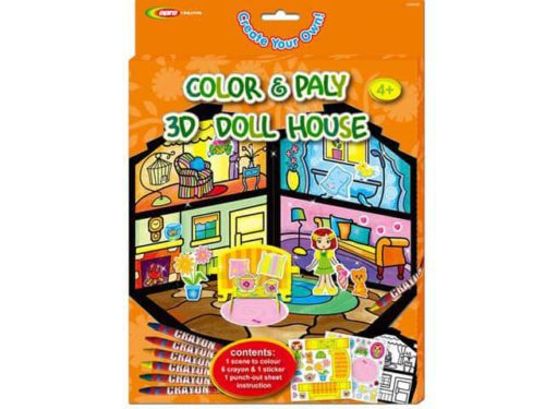 3D Color & Play Doll HouseComplete inkleurset