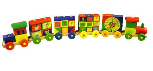 6-dlge kleurrijke trein, 2x loc.1 meter