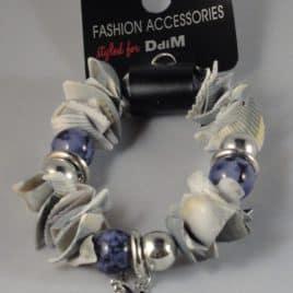 Armband assorti schelpjes grijs-blauw