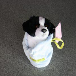 Hond in zakje pluche blauw