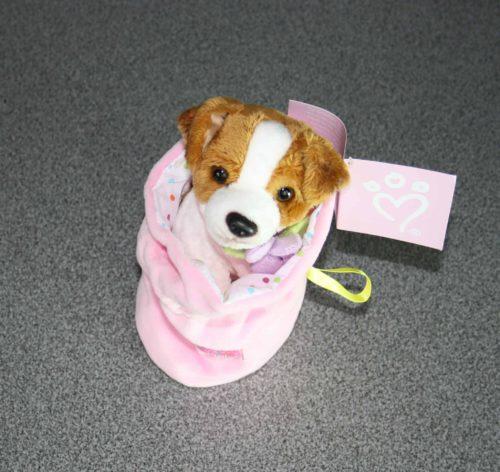 Hond in zakje pluche roze