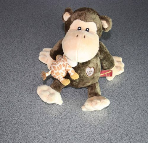 Schattig aapje met giraffe vriendje