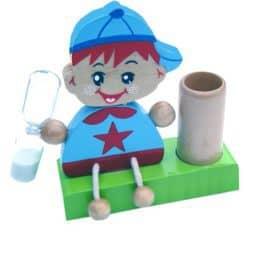 Tandenborstelset jongen uit hout