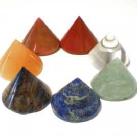 Chakra kegelstenen set van 7 (edelstenen)