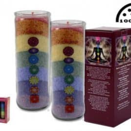 Chakra Regenboog geurkaars in glazen houder
