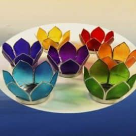 Sfeerlichten Chakra Lotus Zilverkleurige randen - Set van 7