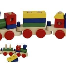 Treinstel met blokken in diverse kleuren