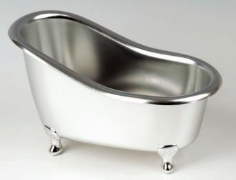 Geschenkverpakking zilverkleurig badje
