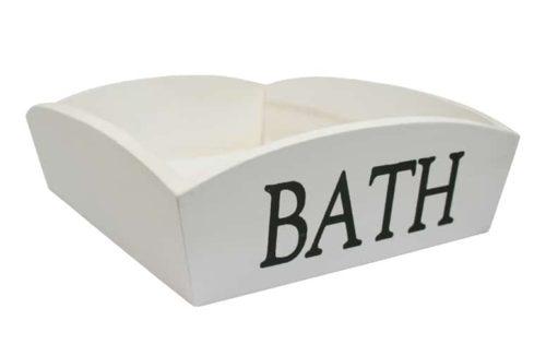 """Houten bakje met opdruk """"BATH"""""""