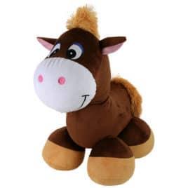 HRS4223-Pluche paard donkerbruin 58cm