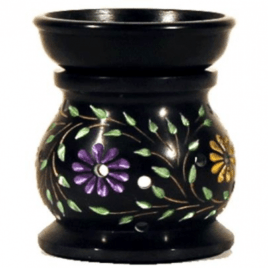 Olieverdamper Flowers Zwart Zeepsteen