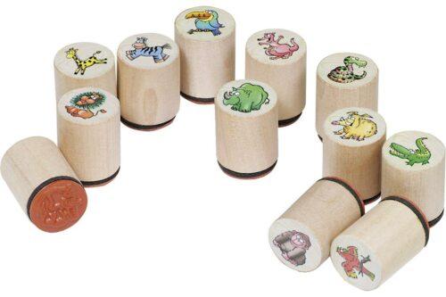 Goki houten stempelset 12 stuks wilde dieren